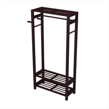 Load image into Gallery viewer, Storage stony edge wood coat shoe garment rack and hat stand for hallway or front door entryway free standing clothing rail hanger easy to assemble espresso