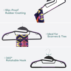 Products sable 60 pack plastic clothes hangers space saving ultra thin with 10 finger clips non slip heavy duty s shape for tight collars 6 colors for shorts pants shirts scarves