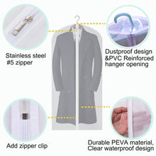 Load image into Gallery viewer, Organize with cm cumizon garment bags hanging garment covers for long dresses translucent suit bag set of 6 with full length zipper for dance costumes gown dress clothes storage 24x50 60 inch
