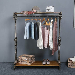 Shop for qianniu industrial clothing rack display commercial grade heavy duty garment rack with shelves vintage steampunk hat rack shoes rack cloth hanger 47