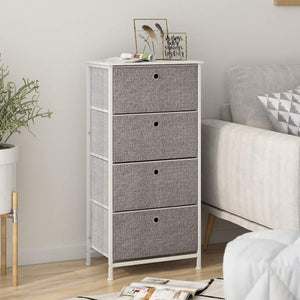 Kitchen langria 4 drawer home dresser storage tower clothes organizer with easy pull faux linen drawers and metal frame features wooden tabletop premium finish for guest room dorm hallway or office grey