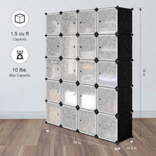 Load image into Gallery viewer, Heavy duty langria 20 storage cube organizer wardrobe modular closet plastic cabinet cubby shelving storage drawer unit diy modular bookcase closet system with doors for clothes shoes toys black and white