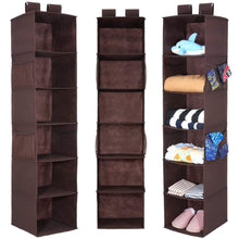 Load image into Gallery viewer, Discover the best magicfly hanging closet organizer with 4 side pockets 6 shelf collapsible closet hanging shelf for sweater handbag storage easy mount hanging clothes storage box brown