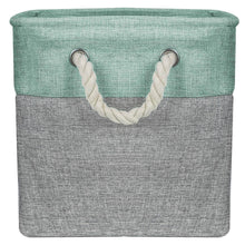 Load image into Gallery viewer, Top rated sorbus storage large basket set 3 pack big rectangular fabric collapsible organizer bin with cotton rope carry handles for linens toys clothes kids room nursery woven rope basket teal