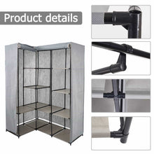 Load image into Gallery viewer, Purchase dporticus portable corner clothes closet wardrobe storage organizer with metal shelves and dustproof non woven fabric cover in gray