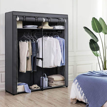 Load image into Gallery viewer, Save on songmics closet storage organizer portable wardrobe with hanging rods clothes rack foldable cloakroom study stable 55 1 x 16 9 x 68 5 inches gray uryg02gy