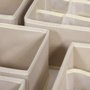 Try tenabort foldable drawer organizer dividers cloth storage box closet dresser organizer cube fabric containers basket bins for underwear bras socks panties lingeries nursery baby clothes beige 4 pack