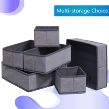 Load image into Gallery viewer, Explore onlyeasy foldable cloth storage box closet dresser drawer organizer cube basket bins containers divider with drawers for scarves underwear bras socks ties 6 pack linen like grey mxdcb6p