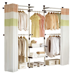 Budget prince hanger deluxe 4 tier shelf hanger with curtain clothing rack closet organizer phus 0061