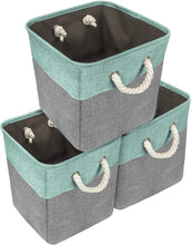 Load image into Gallery viewer, Try sorbus storage large basket set 3 pack big rectangular fabric collapsible organizer bin with cotton rope carry handles for linens toys clothes kids room nursery woven rope basket teal