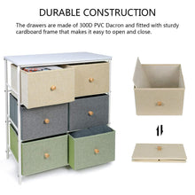 Load image into Gallery viewer, The best lifewit small storage drawer unit with metal frame for children small clothes organizer with wooden tabletop for livingroom bedroom cabinet with 6 easy pull fabric drawers 3 tier