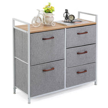 Load image into Gallery viewer, Best maidmax storage cube dresser home dresser storage tower constructed by painted steel wooden top and 5 foldable cloth storage cubes gray