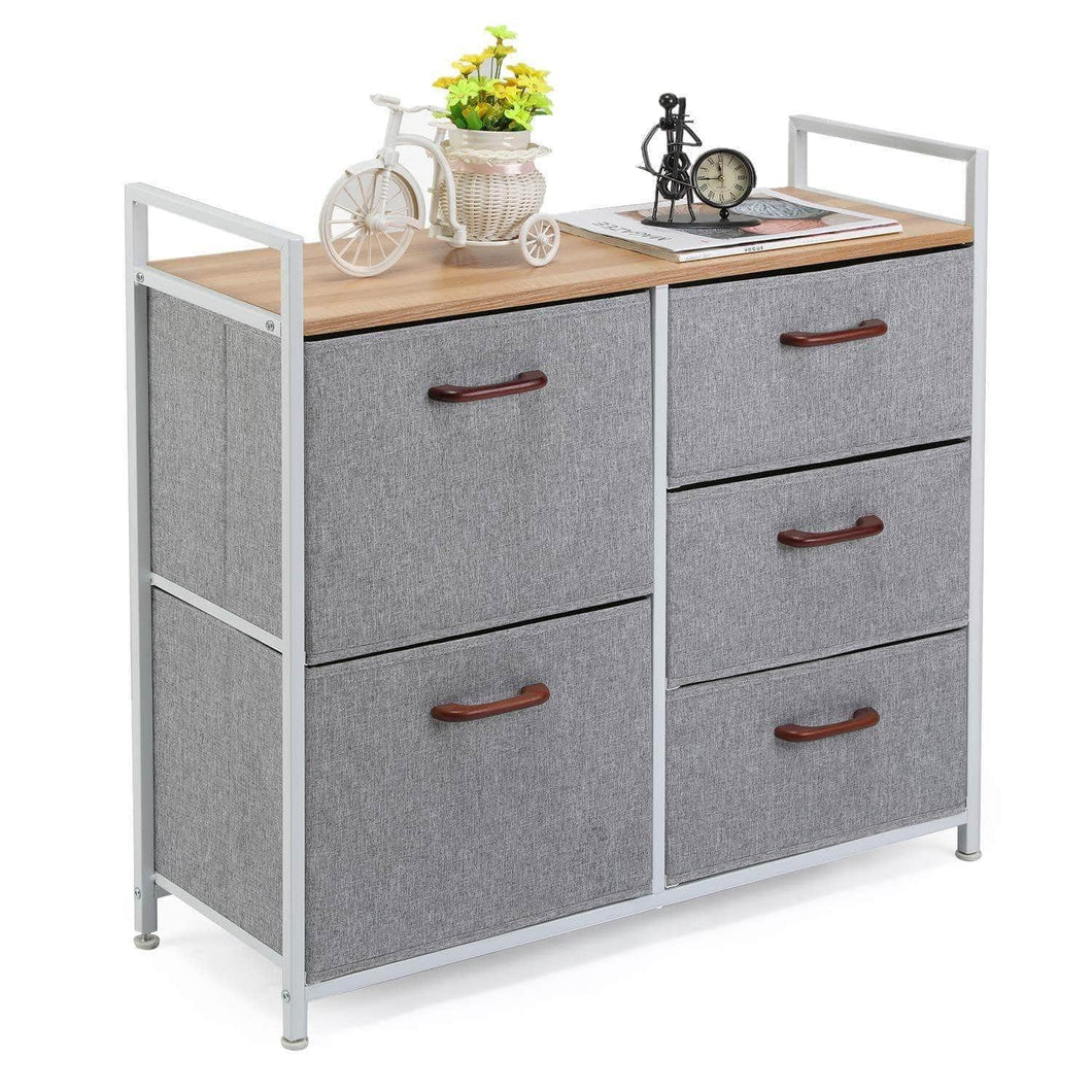 Best maidmax storage cube dresser home dresser storage tower constructed by painted steel wooden top and 5 foldable cloth storage cubes gray