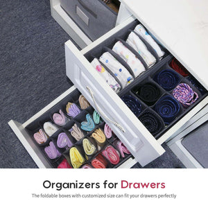 Products onlyeasy set of 4 closet underwear organizer drawer dividers foldable cloth storage boxes for bras socks underwears briefs ties scarves grey classic mnclss4p