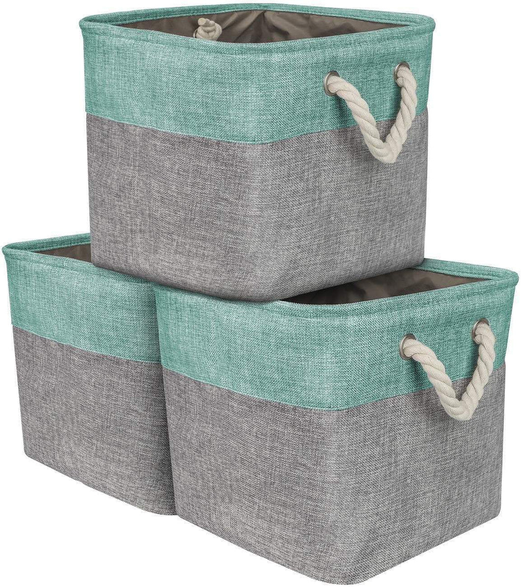 Storage organizer sorbus storage large basket set 3 pack big rectangular fabric collapsible organizer bin with cotton rope carry handles for linens toys clothes kids room nursery woven rope basket teal