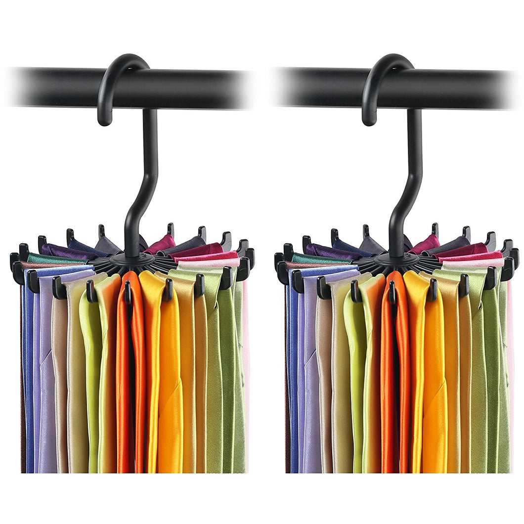 2 Pack IPOW Updated Twirl Tie Rack Belt Hanger Holder Hook for Closet Organizer Storage