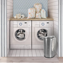 Load image into Gallery viewer, The best brushed stainless steel laundry bin hamper 46l ventilated stainless steel clothes basket with polished lid life time warranty 4