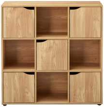 Load image into Gallery viewer, Shop for home basics cube shelves natural wood shelf with doors room clothes storage home decor bookshelf toy organizer home office 4 open 5 cabinet style 9 c