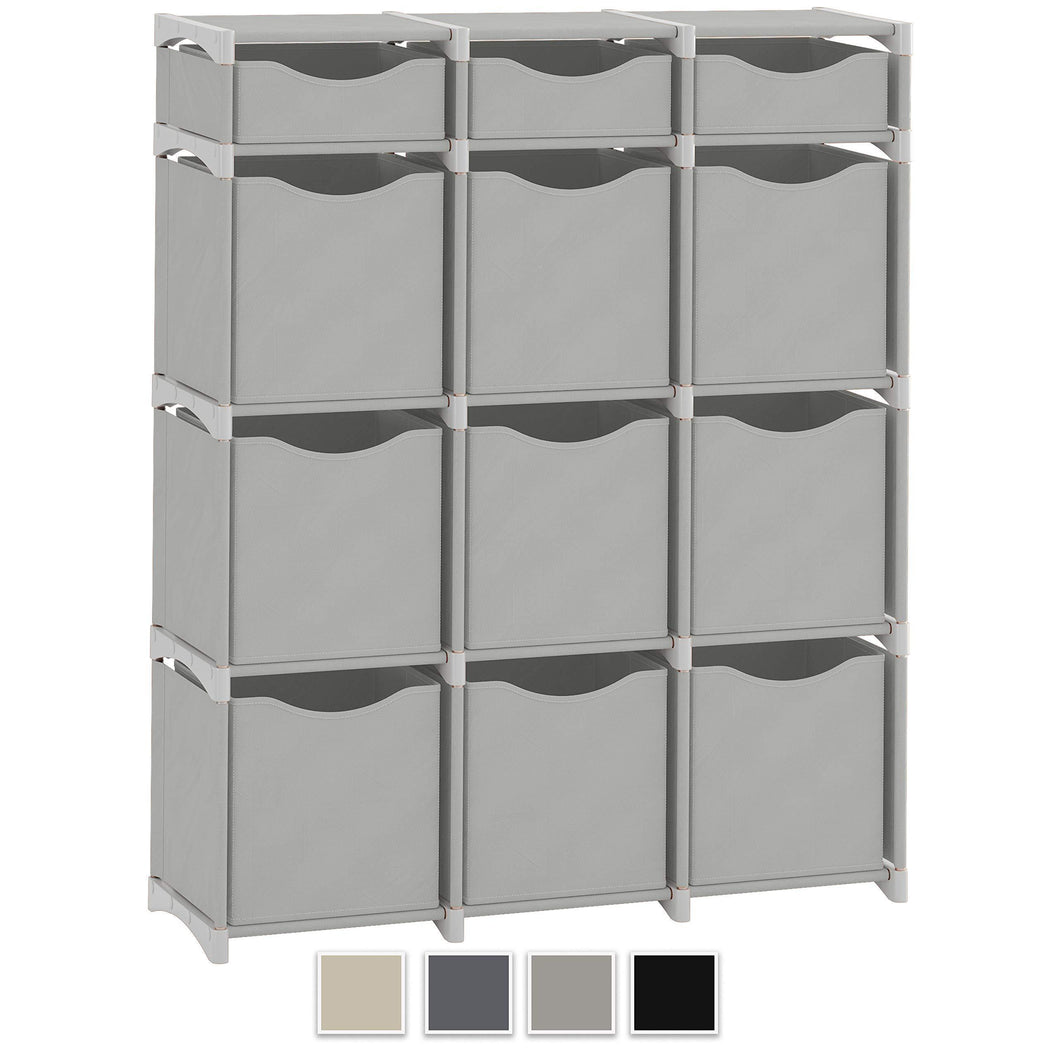 12 Cube Organizer | Set of Storage Cubes Included | DIY Cubby Organizer Bins | Cube Shelves ladder Storage Unit shelf | Closet Organizer for Bedroom, Playroom, Livingroom, Office (Light Grey)