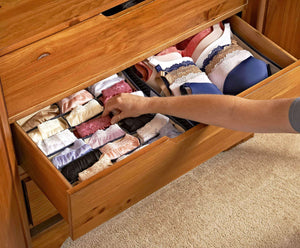 Best topline goods spark premium set of 3 foldable covered drawer organizer closet organizer for socks bras for women underwear baby clothes belts scarves blue
