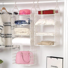 Load image into Gallery viewer, DIY Hanging Closet Organizer Plastic Folding Storage Shelving with Hook Clothes Shelf Rack Holder - 3 Small Layers