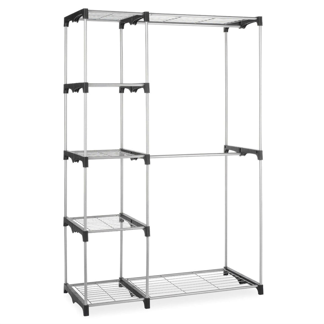 Freestanding Closet Organizer Garment Rack Storage Unit with Hanging Rods