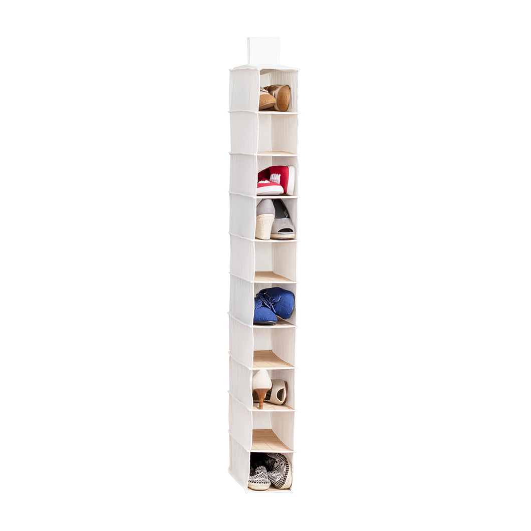 10-Tier Hanging Shoe Shelf, Bamboo
