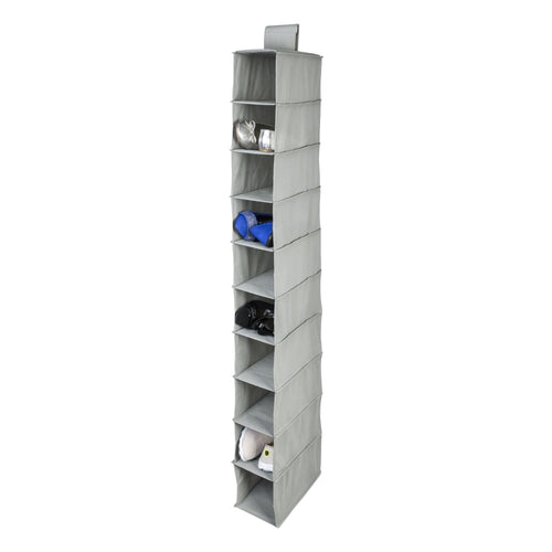 10-Shelf Hanging Closet Organizer, Light Grey