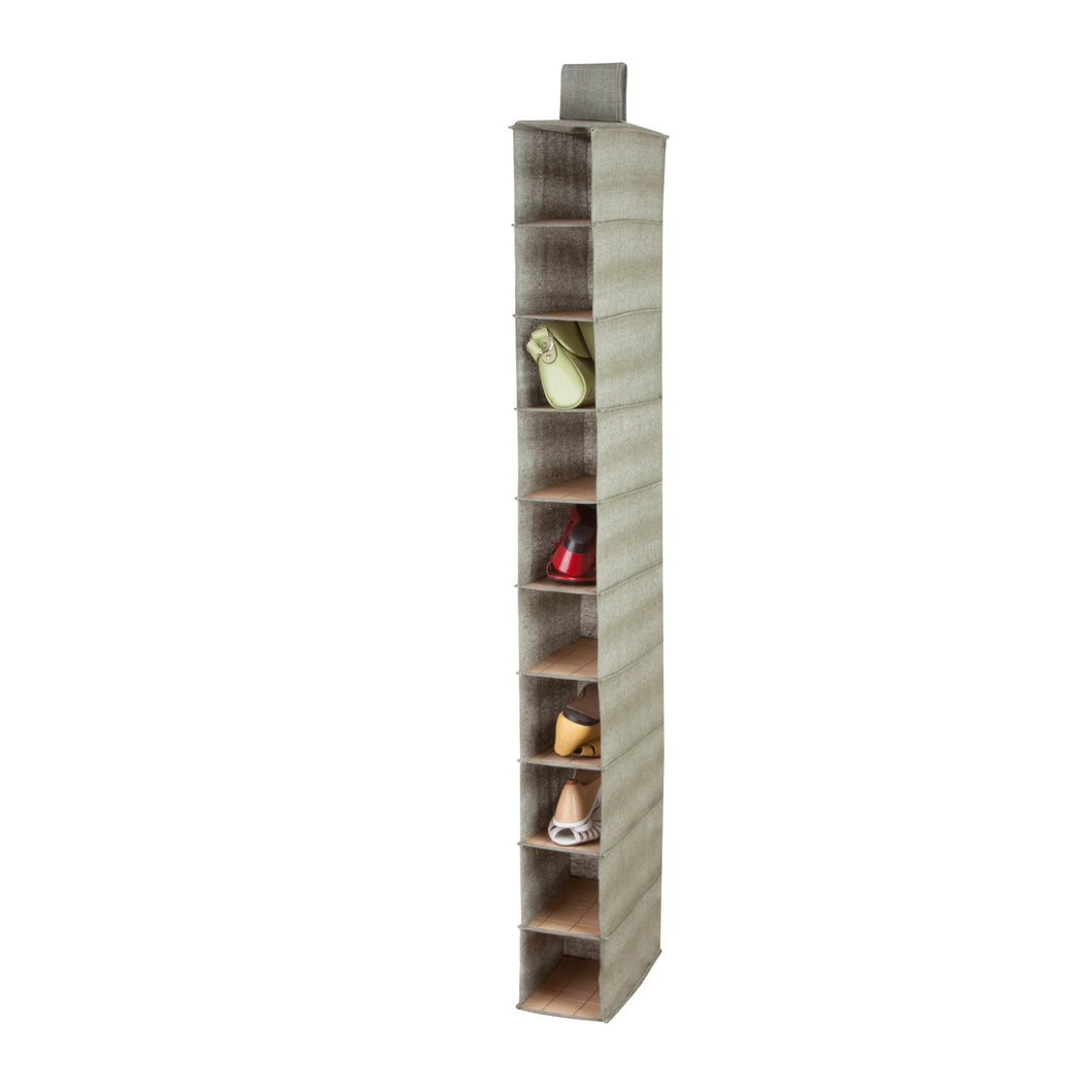 10-Tier Hanging Shoe Shelf, Bamboo & Canvas