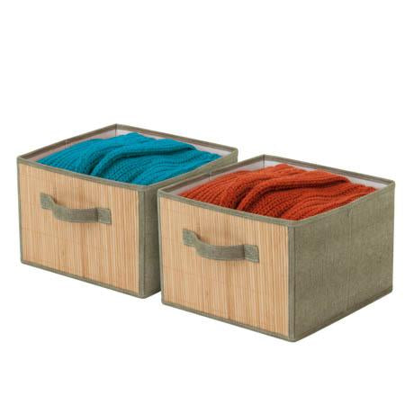 2-Pack Drawers, Bamboo Front