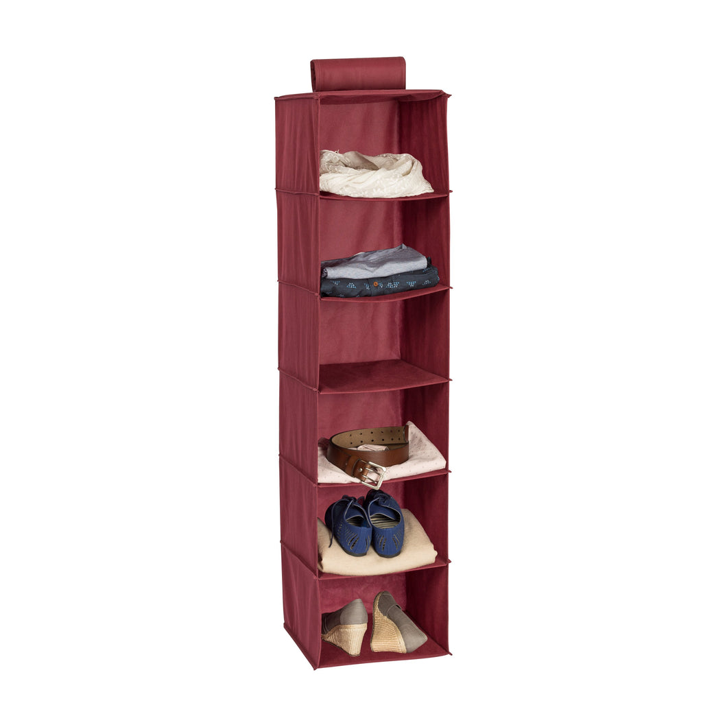 6-Shelf Hanging Closet Organizer, Red
