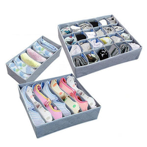 3Pcs/Set Sock Bra Underwear Ties Drawer Closet Organizer Storage Box Fabric Organization