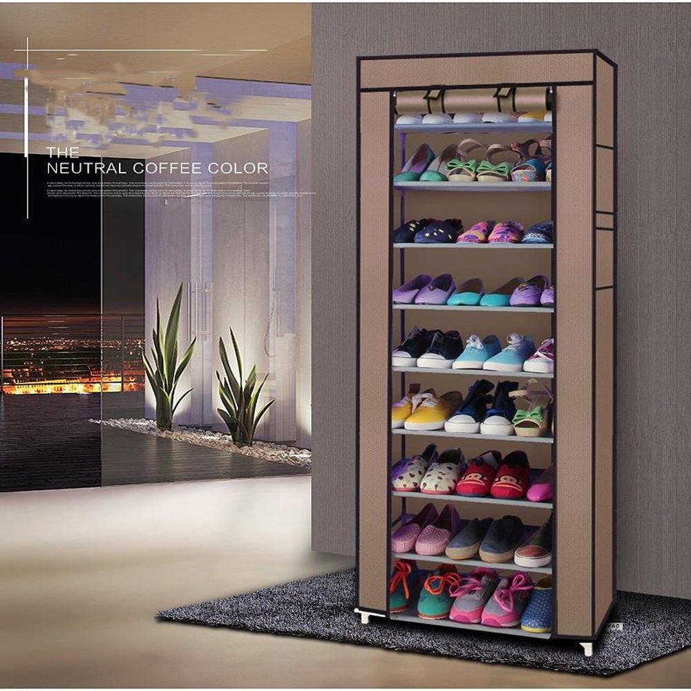 10 Tier Shoe Closet Organizer Cover Rack Storage Shelf Cabinet Space Saving