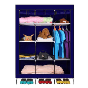 69 Inch Portable Closet Organizer Large Space Clothes Wardrobe Steel Tube Rack With Shelves Clothing Storage Closet