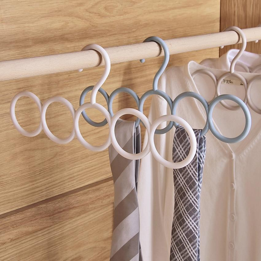 1 Pc Ring Hole Round Tie European Clothes Scarves Storage Rack Cloth Rotate Save Space Closet Organizer Scarf Hanger