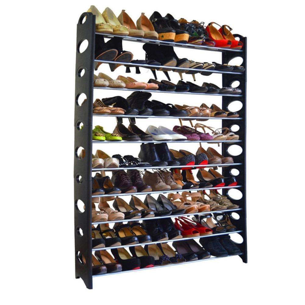 10-Tier Shoe Rack For 50 Pair Wall Bench Shelf Closet Organizer Storage Box Stand
