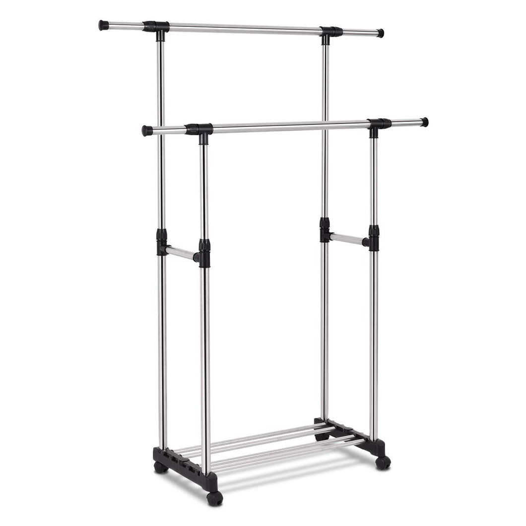 Double Rail Rolling Adjustable Closet Organizer