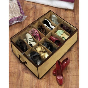 12 Shoes Under Bed Storage Rack Organizer