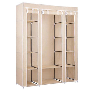 "53"" Portable Wardrobe Storage Clothes Closet Organizer Beige"