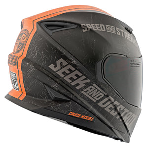 CRUISE MISSILE™ SS1600 HELMET MATTE BLACK/ORANGE BACK