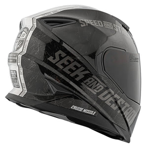 CRUISE MISSILE™ SS1600 HELMET GLOSSY BLACK/SILVER BACK