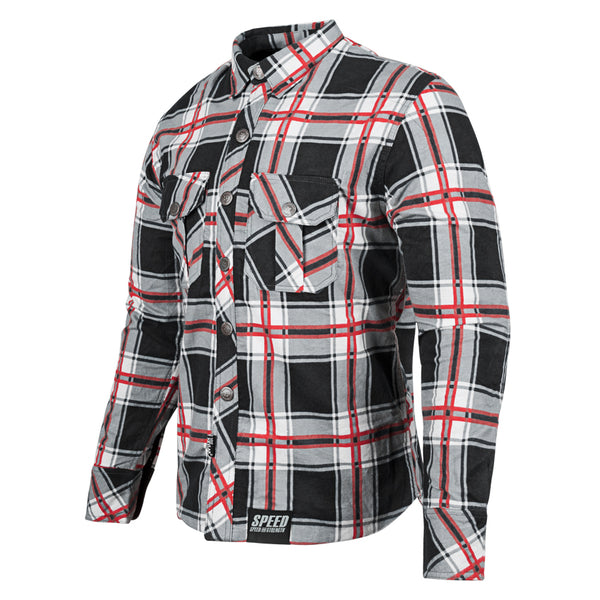 RUST AND REDEMPTION™ ARMORED MOTO SHIRT FRNT RED
