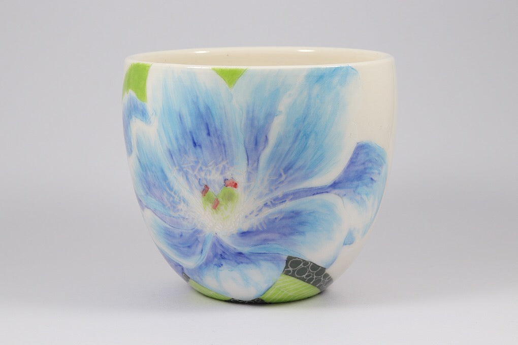 Cup with Large Blue Flower