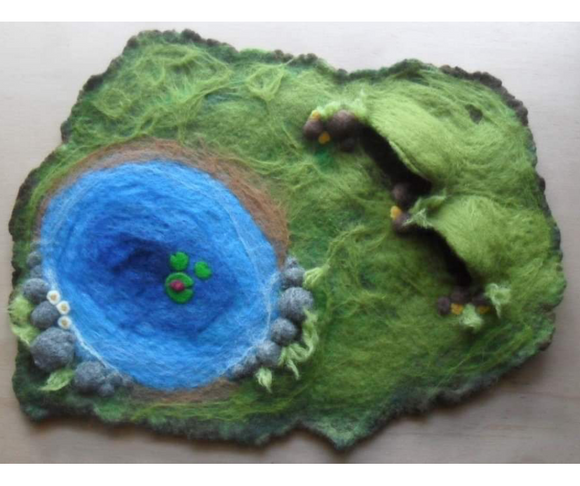 Wet Felted Playmat with pond and 2 caves