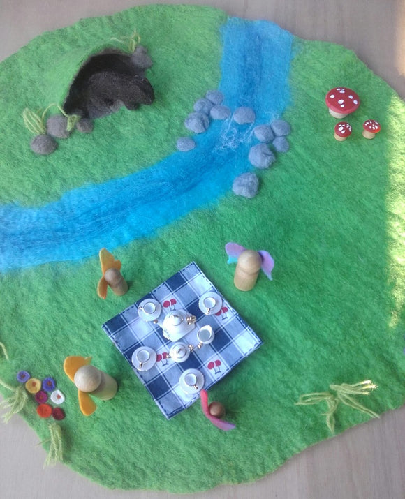 Wet Felted Picnic Play Mat - Circular with stream and cave