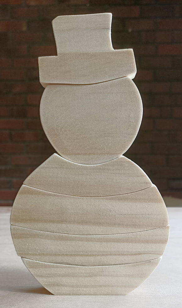 Wooden Snowman Stacking Puzzle