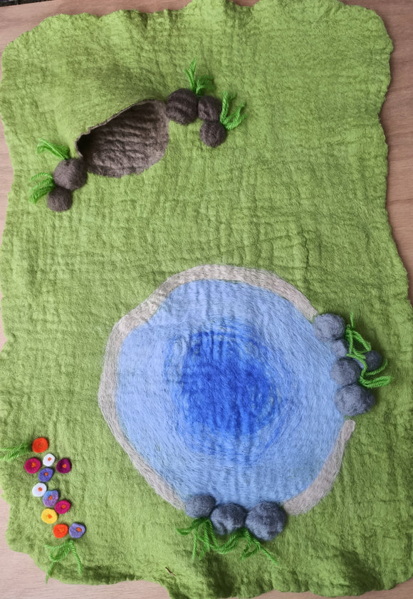 Pond with cave play mat
