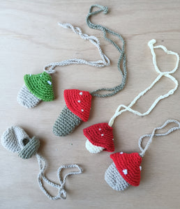 Crochet cotton mushroom necklaces/bracelet