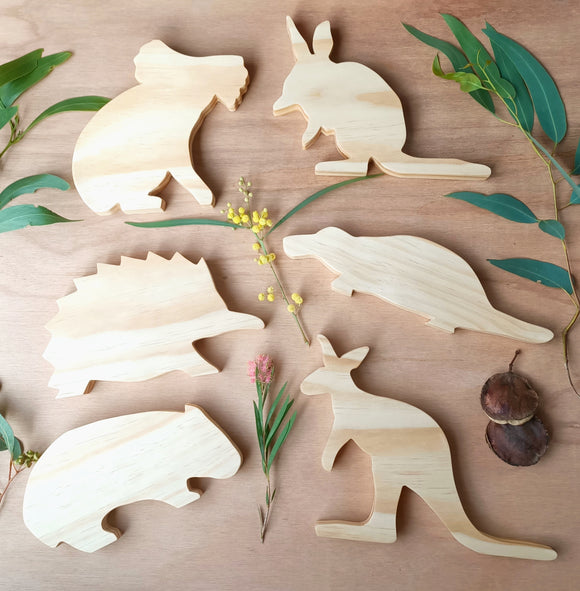 Full Set of 6 Wooden Australian Animal Shelfies