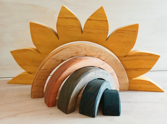 Wooden Sunflower Rainbow Stacker